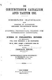 De coniunctionum causalium apud Tacitum usu