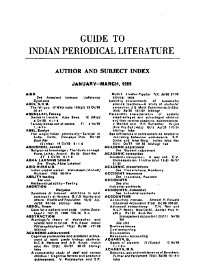 Guide to Indian Periodical Literature