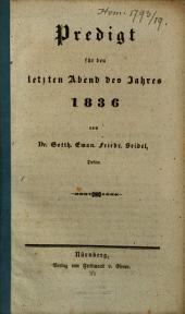 Predigt für den letzten Abend des Jahres 1836
