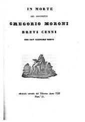 In morte del giovinetto Gregorio Moroni brevi cenni