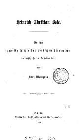 Heinrich Christian Boie, Beitrag zur Geschichte der deutschen Literatur