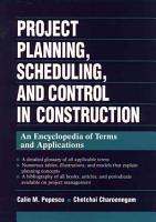 Project Planning  Scheduling  and Control in Construction PDF