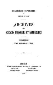 Archives des sciences physiques et naturelles: Volumes37à39