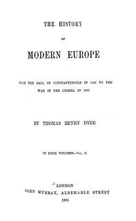 The History of Modern Europe from the Fall of Constantinople Book