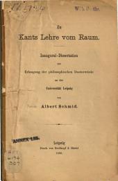 Zu Kants Lehre vom Raum: Inaugural-Dissertation ...