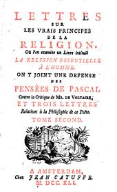 Lettres sur les Vrais Principes de la Religion