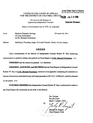 Final Report of the Independent Counsel  in Re  Madison Guaranty Savings   Loan Association