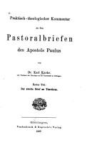 Praktisch theologischer Kommentar zu den Pastoralbriefen des Apostels Paulus PDF