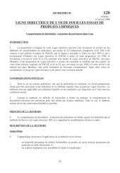 Lignes directrices pour les essais de produits chimiques / Section 1: Propriétés Physico-Chimiques Essai n° 120: Comportement de dissolution - extraction des polymères dans l'eau