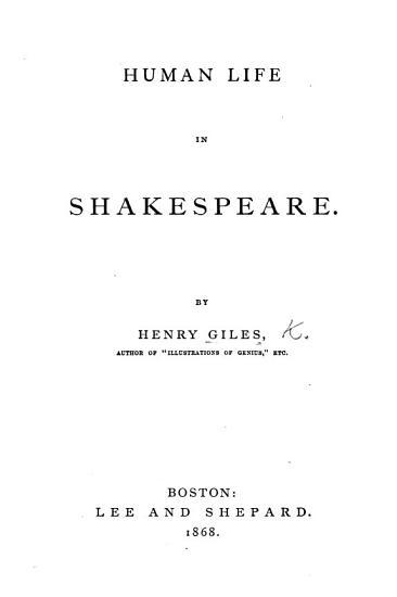 Human Life in Shakespeare PDF