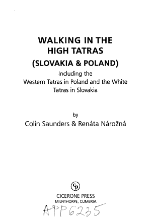 Walking in the High Tatras  Slovakia and Poland
