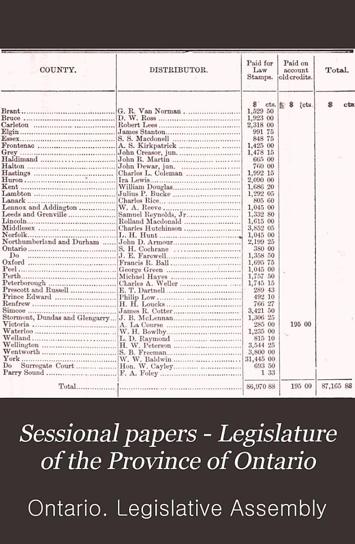Sessional Papers - Legislature of the Province of Ontario