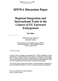 Regional Integration and International Trade in the Context of EU Eastward Enlargement PDF