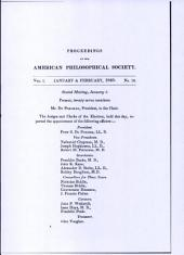 Proceedings, American Philosophical Society (vol. 1, no. 10)