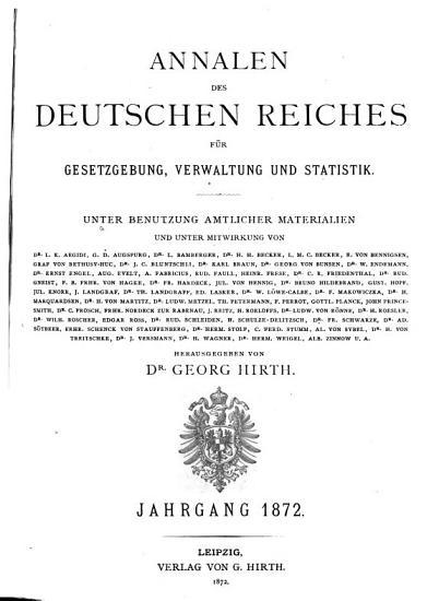 Annalen des Deutschen Reichs f  r gesetzgebung  verwaltung und volkswirtschaft  Rechts  und staatswissenschaftliche zeitschrift und materialiensammlung     PDF