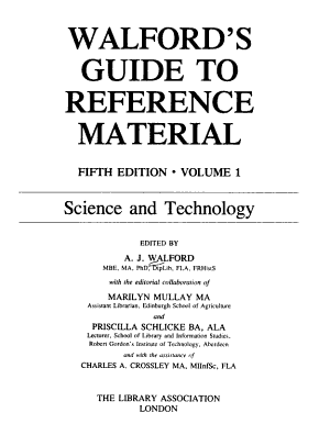 Walford s Guide to Reference Material  Science and technology PDF