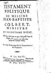 Testament politique de M. Jean Bapt. Colbert