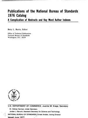 Publications of the National Bureau of Standards     Catalog PDF