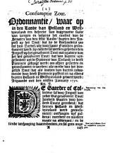 Consumptie zout: Ordonnantie, waar op in en lande van Holland en Westvriesland ... by collecte sal werden geheeven den impost op het gerafineert zout ... Innegaande met den eersten january 1750