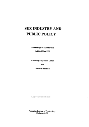 Sex Industry and Public Policy PDF