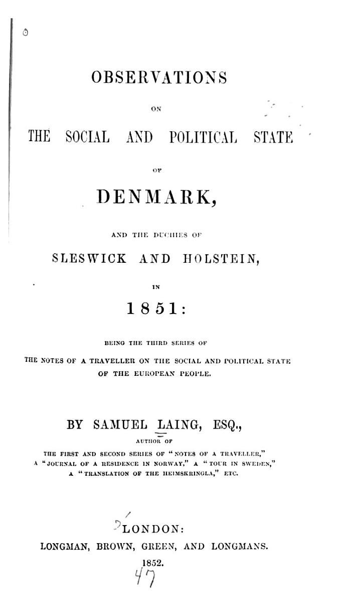 Observations on the Social and Political State of Denmark
