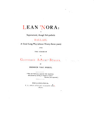 Lean nore  a supernatural  though sub pathetic ballad  A good long way     after the German     By Heinrich Yalc Snekul  i e  H  Clay Lukens    A parody  With the German text   L P