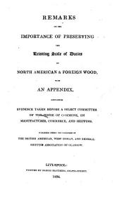 Remarks on the Importance of Preserving the Existing Scale of Duties on North American and Foreign Timber
