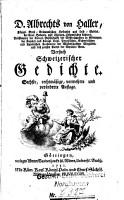 D  Albrecht von Haller Versuch schweizerischer Gedichte PDF