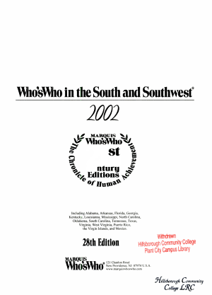 Who s Who in the South and Southwest  2001 2002 PDF