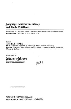 Language Behavior in Infancy and Early Childhood