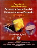 Advances in Recent Trends in Communication and Networks PDF