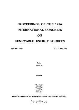 Proceedings of the 1986 International Congress on Renewable Energy Sources  Madrid  Spain  18 23 May 1986