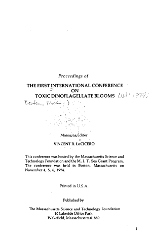 Proceedings of the First International Conference on Toxic Dinoflagellate Blooms