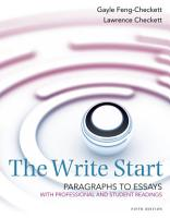 The Write Start  Paragraph to Essay  With Student and Professional Readings PDF