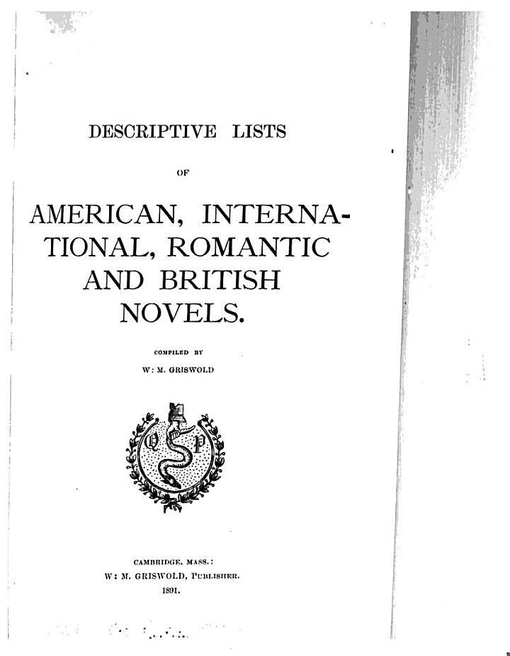 Descriptive List[s] of Novels and Tales