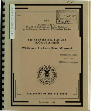 Whiteman Air Force Base  AFB   Basing of the B 2  T 38  and A AO 10 Aircraft PDF