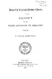 Report on the Wolfe Expedition to Babylonia, 1884-85