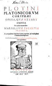 Plotini Platonicorum opera, quae extant omnia
