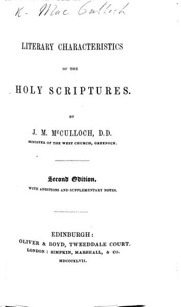 Literary Characteristics of the Holy Scriptures, etc