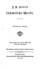 J. P. Hebels sämmtliche Werke ...: Mit dem bildnisse Hebels ...