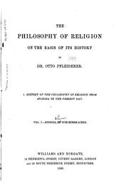 The Philosophy of Religion on the Basis of Its History: Volume 1