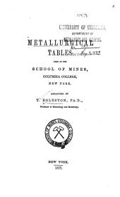 Metallurgical Tables Used at the School of Mines, Columbia College, New York