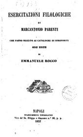 """Esercitazioni filologiche che fanno seguito ai """"Cataloghi di spropositi"""" di Marcantonio Parenti"""