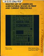 Selected List of American Agricultural Books in Print and Current Periodicals