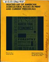 Selected List of American Agricultural Books in Print and Current Periodicals PDF
