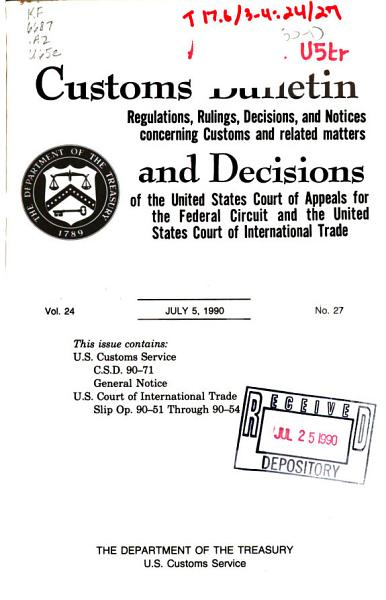 Download Customs Bulletin and Decisions Book