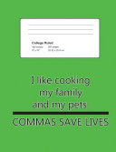 Composition Notebook College Ruled Neon Green   Commas Save Lives PDF