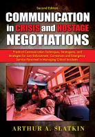 Communication in Crisis and Hostage Negotiations PDF