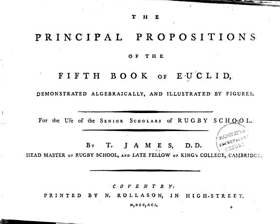 The principal propositions of the fifth book of Euclid