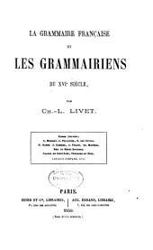 La grammaire française et les grammairiens du XVIe siècle